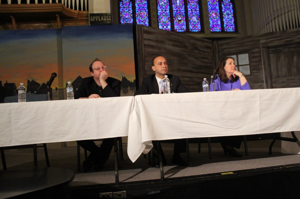 Congresspersons Jared Polis, Luis Gutierrez, and Diane Degette address the Denver community