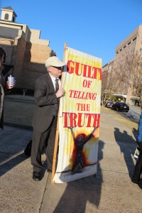 Bill Quigley, Associate Director for the Center for Constitutional Rights and attorney for defendant Nashua Chantal stands outside the Columbus, Georgia courthouse just before the trial..