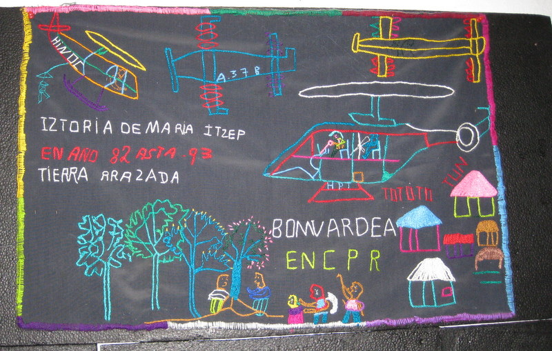 photo:  Tiburcia Vidal/The Nation Report/ Chacul, GuatemalaThe Ixil Maya documented raids by embroidering aviation identfification numbers on squares.