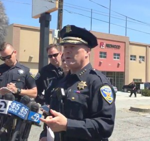 Police Chief Greg Suhr speaking to reporters earlier today.