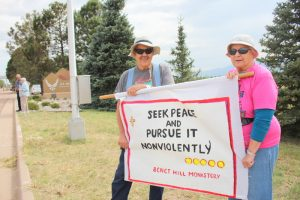 Al Nook (left) of Colorado Springs has been a peace activist since he was 18-years old.