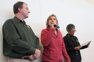 Mayor Suzanne Jones (c) announces that the city of Boulder will discuss emergency measures to protect all Boulderites.
