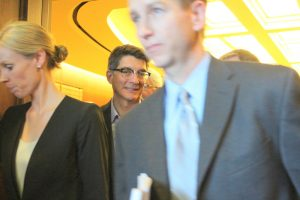 Britta Beckstead (l) attorney for the COGCC, and Matt Lepore (c) Director of the COGCC leave the courtroom of the Colorado Court of Appeals following the hearing.