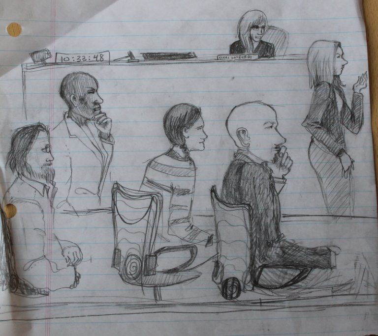 Courtroom showing the three defendants, their attorney, the prosecuting attorney, and judge   (drawing:  Karen Seed)