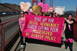 The banner created by Colorado Code Pink appeared all over the country including here crossing the Golden Gate Bridge in San Francisco in February and later that year to the US Social Forum in Philadelphia.